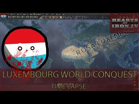 Hearts Of Iron 4 - Luxemburg World Conquest (Gameplay Time lapse - Iron Man)