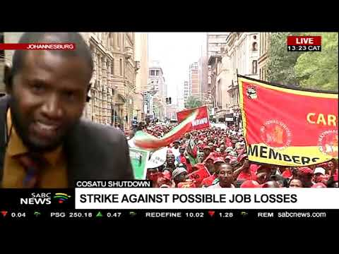 Cosatu march paints Johannesburg CBD red