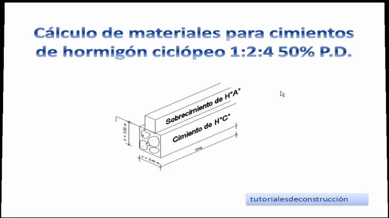 2 calculo de materiales de construcci n para cimientos for Empresas de pavimentos de hormigon