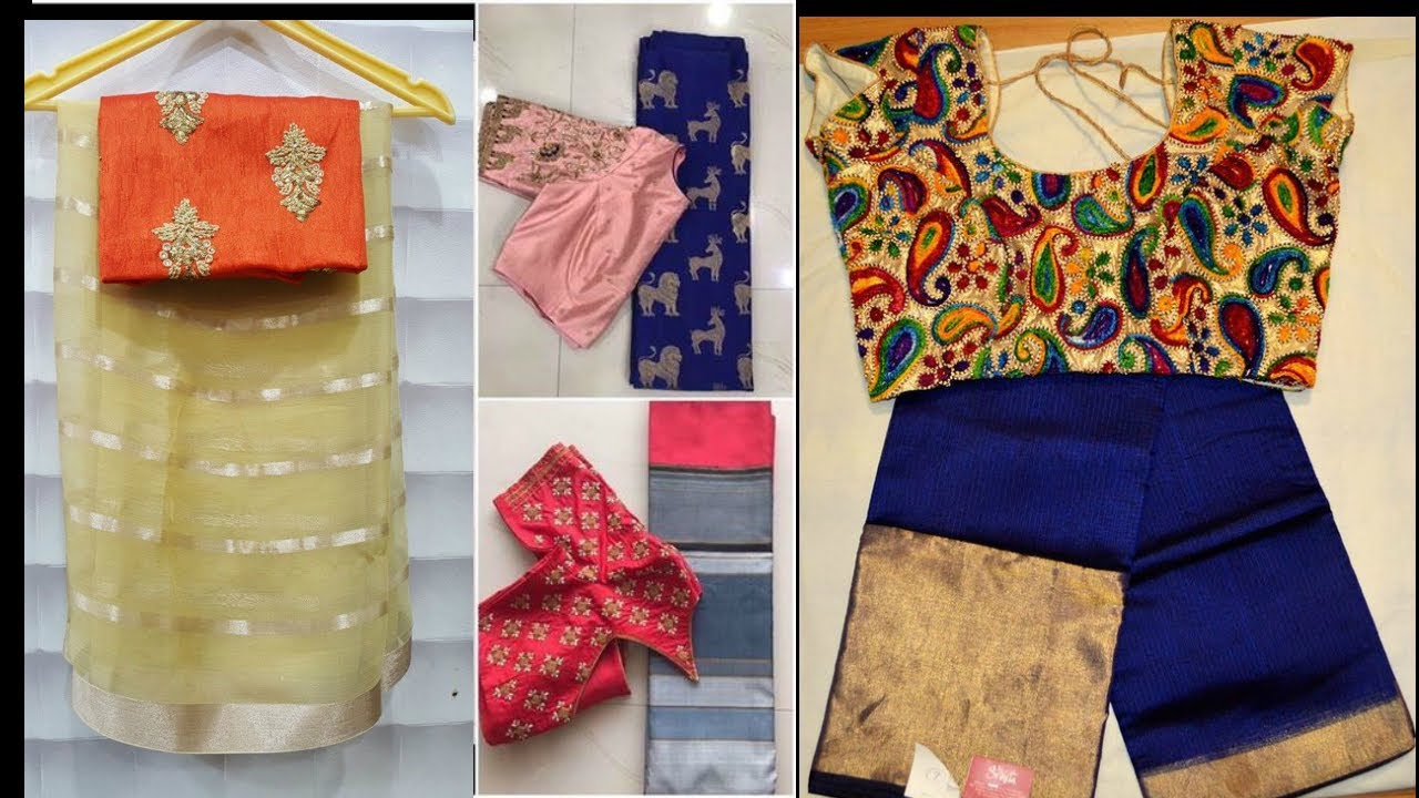 73756001e77e0a Contrast blouse and Saree Mix and match color combinations and embroidery  work blouse designs