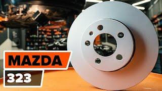 Kaip pakeisti Priekiniai stabdžių diskai, Priekinių stabdžių kaladėlės MAZDA 323 [Pamoka]