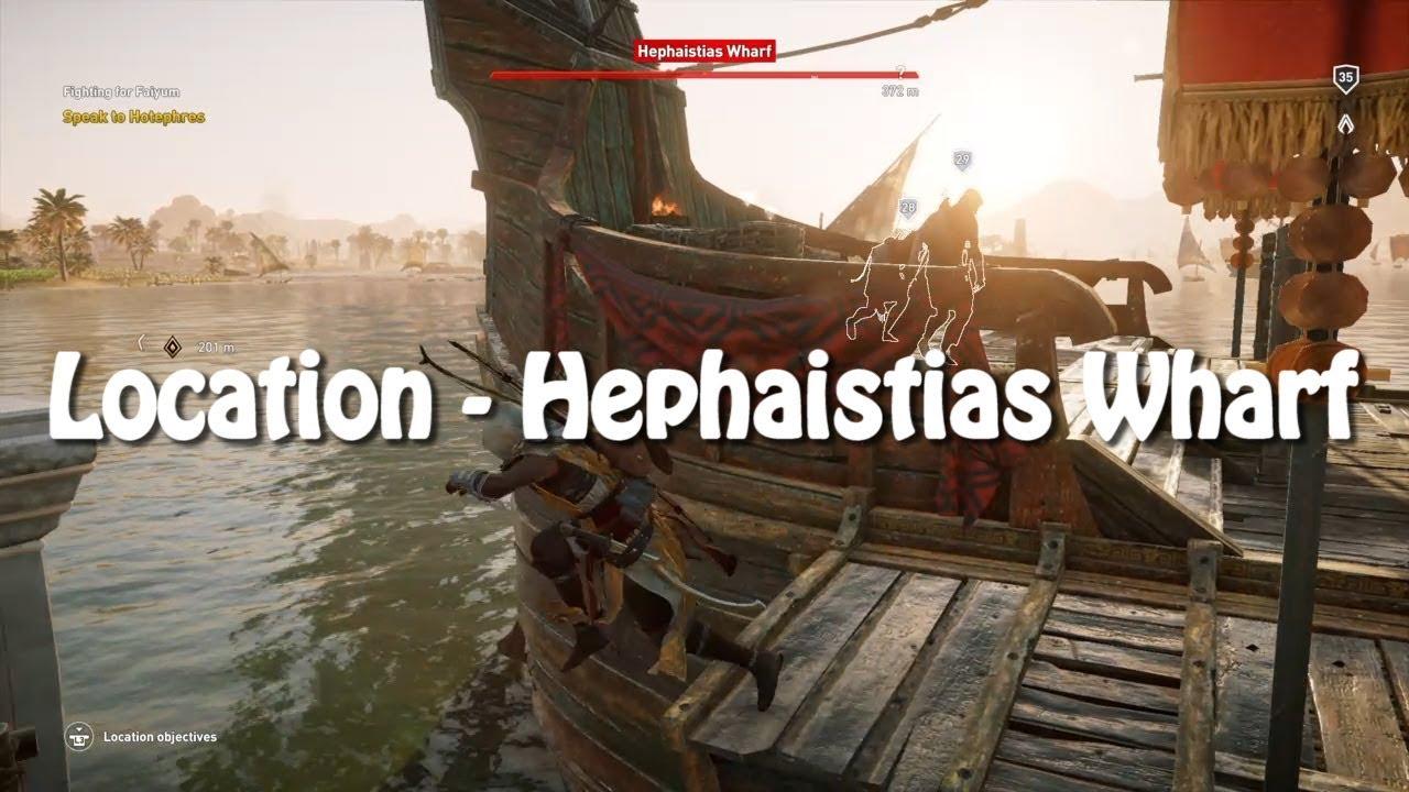 Assassin S Creed Origins Location Hephaistias Wharf Youtube