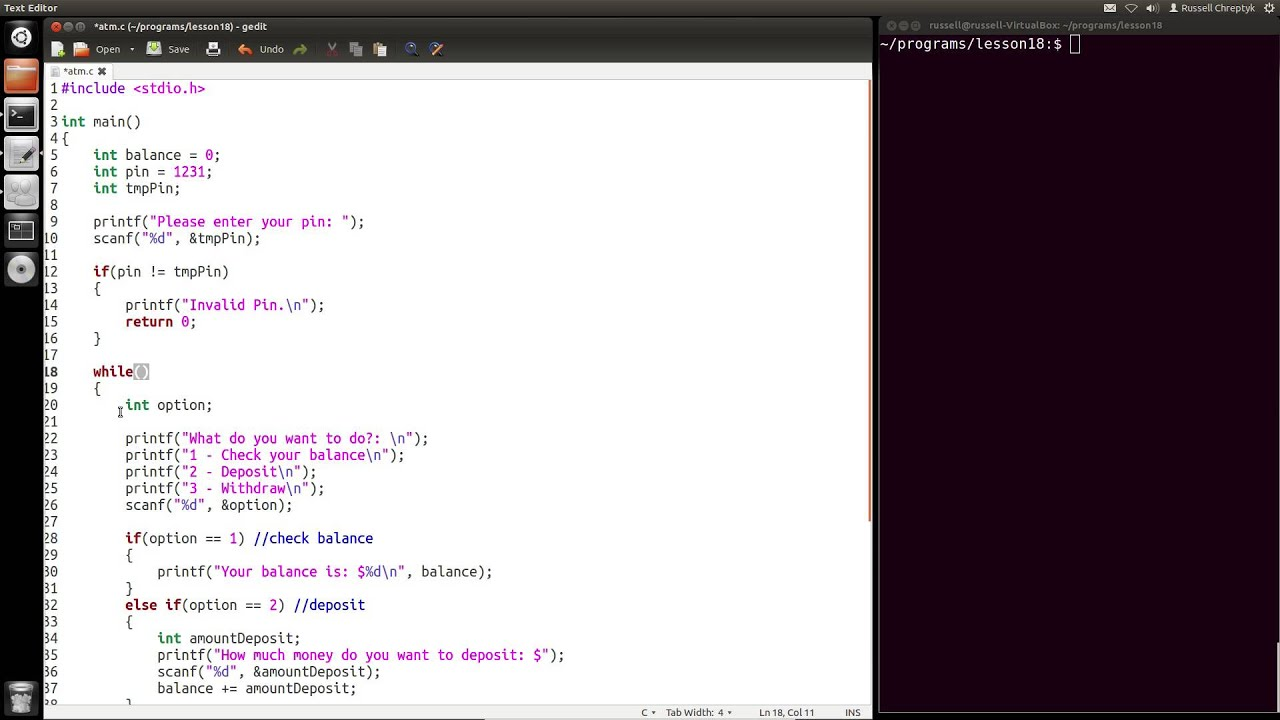 Learn Programming in C - Lesson 18 - ATM - YouTube