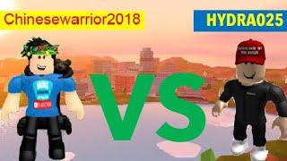 Chinesewarrior2018 Vs HYDRA025 - Roblox Jailbreak Shooting Battle (1v1) On Pc! *Ming GamingStudio*