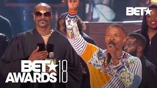 Jamie Foxx Takes Us To Church With Snoop & Tye Tribbett!   BET Awards 2018