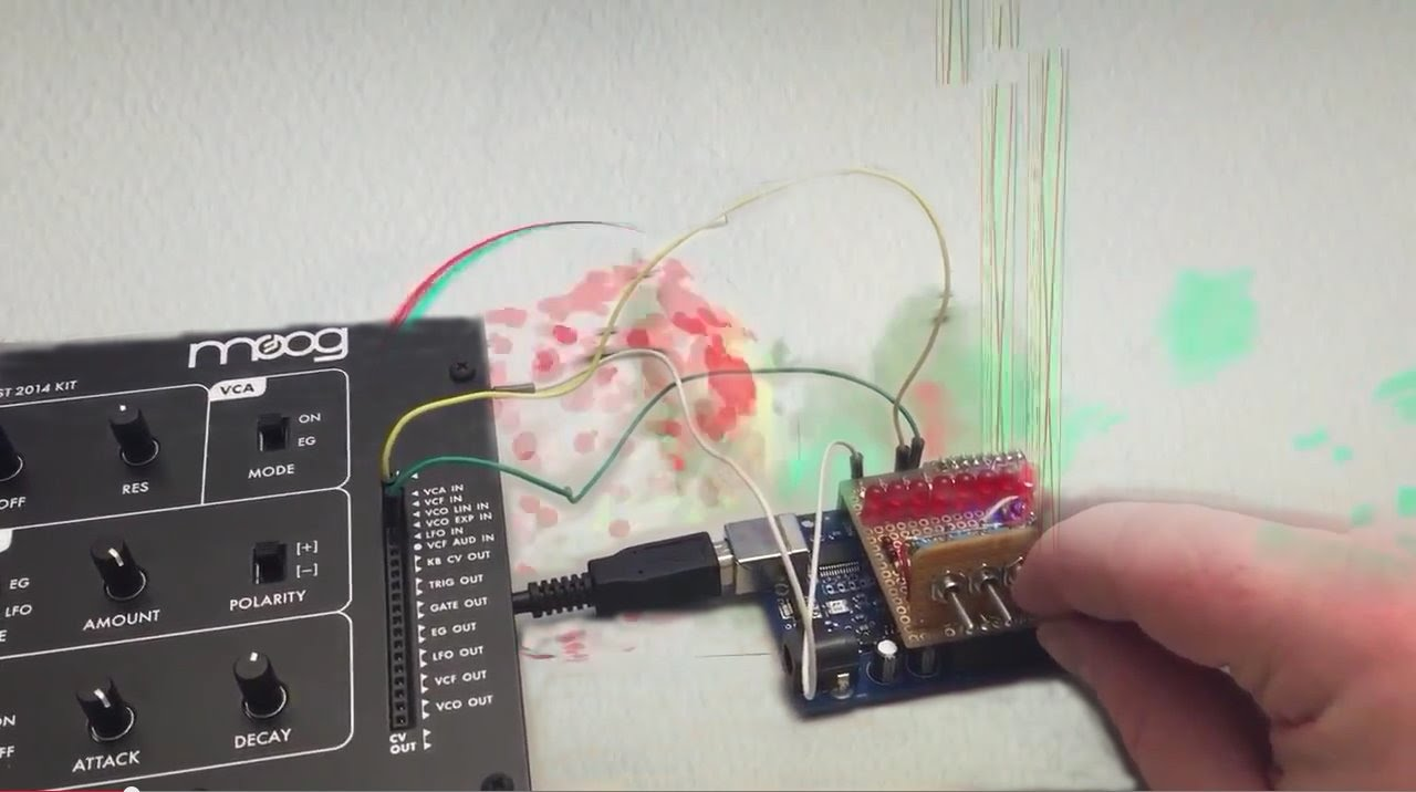 Moog Werkstatt-Ø1 with Arduino DIY CV Sequencer