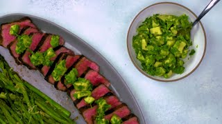 Avocado-Chimichurri Steak with Grilled Asparagus