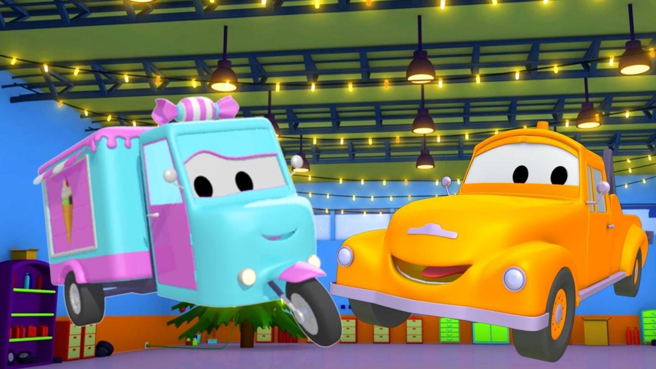 Chiếc Xe Kẹo Và Tom - Chiếc xe tải kéo   Phim hoạt hình chủ đề xe hơi và xe tải xây dựng