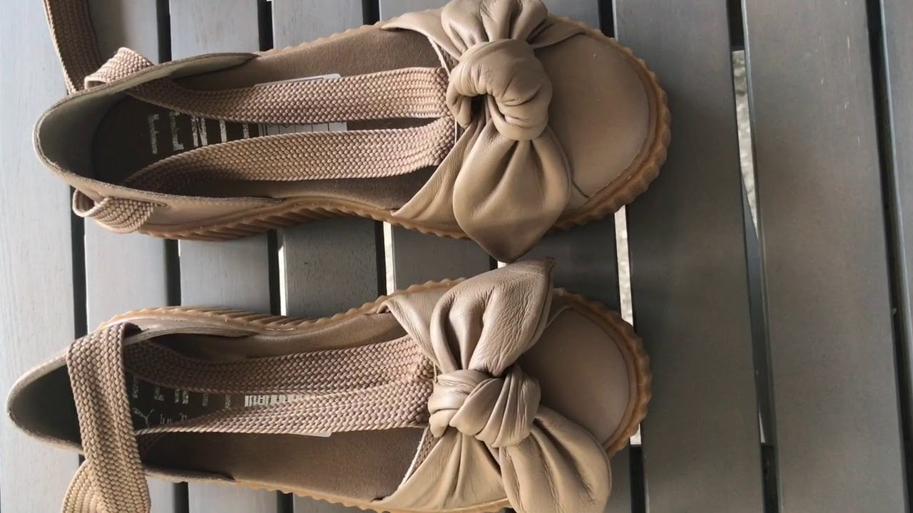the latest 4acaa 6f9b2 Rihanna Fenty Bow Creeper Sandal~Natural- Oatmeal~Unboxing