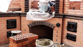 2 часть.Угловой мангал (Чемпион) из Маркинского кирпича и lode в процессе строительства