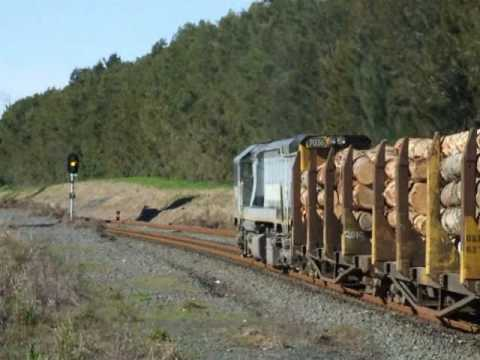 DFT 7036 on a log train at Swanson. 12-7-2010
