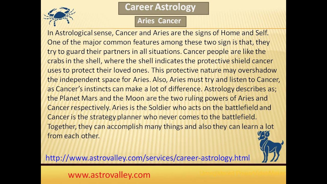 Aries and Cancer Love Compatibility - YouTube