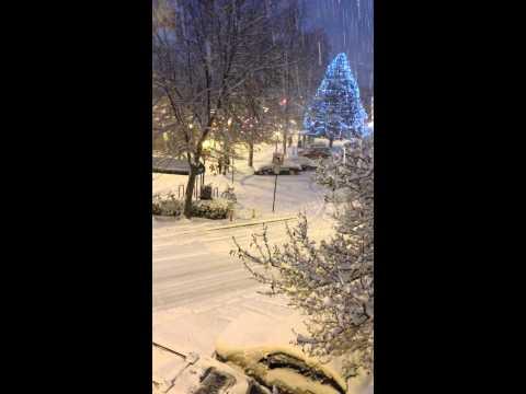 Snowy night in Ashland, Oregon