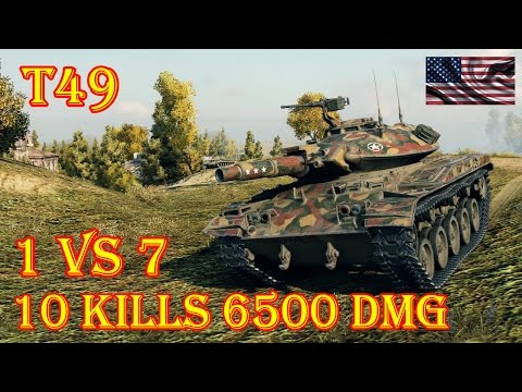 T49  10 Kills 6500 Damage (1 VS 7) Malinovka World of Tanks