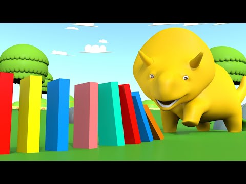Ucz się Kolorów i Numerów Dino gra w Domino Bajki Edukacyjne dla Dzieci