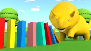 Ucz się Kolorów i Numerów - Dino gra w Domino 👶 Bajki Edukacyjne dla Dzieci
