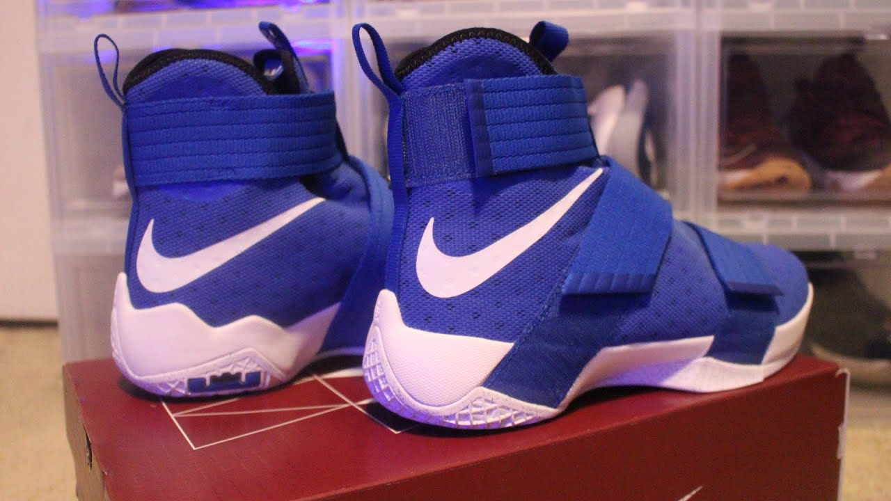 save off d203a d5f42 ... Blue White Basketball Shoes Lebron 10 soldier Nike ...