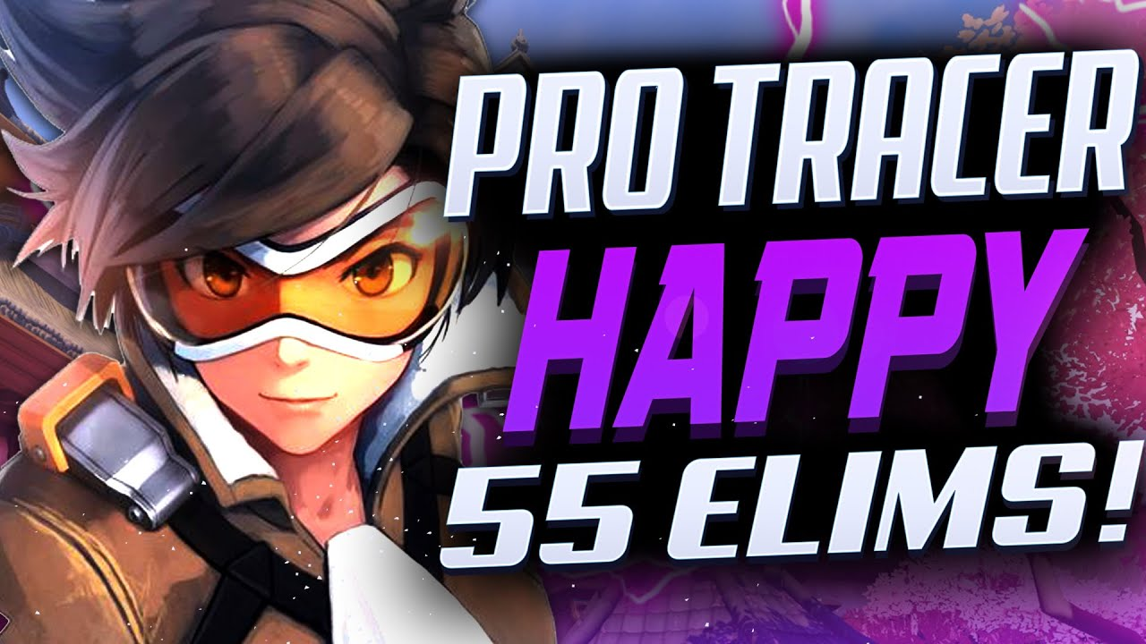 55 ELIMS - HAPPY PRO KOREAN GENJI AND TRACER GAMEPLAY! [ OVERWATCH SEASON 22 TOP 500 ]