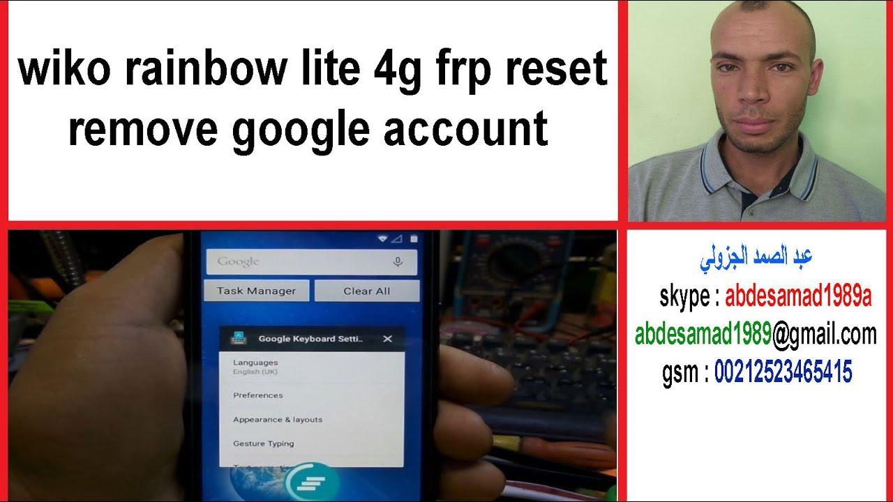 wiko rainbow lite 4g frp reset remove google account