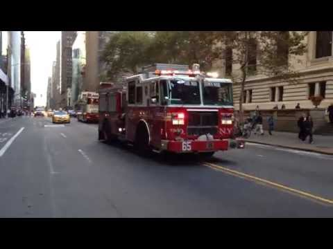 FDNY ENGINE 65 RESPONDING BIG TIME ON E. 42ND ST. IN THE MIDTOWN AREA OF MANHATTAN IN NEW YORK CITY.
