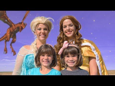 Frozen ELSA vs a Dragon in Fairy Tale Land, saved by Belle!!