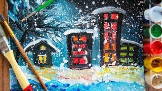 """Рисуем с нами """"Ночной город"""" Изо для детей"""