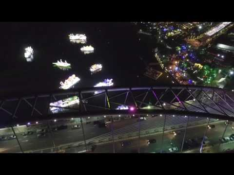 Boats decorated with lights by each state in Malaysia at the Floria Putrajaya. Phantom 3 Pro