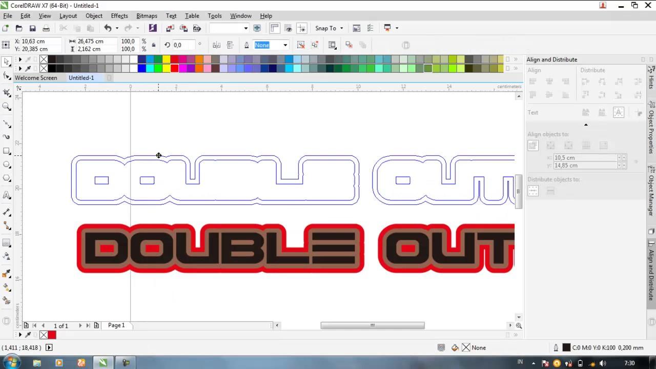 Cara Simpel Buat Double Outline Pada Teks Dengan Corel X7 Youtube