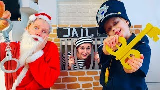 Margo and Nastya save Santa Playing as Cop LOCKED UP Santa Jail Playhouse Toy for Kids
