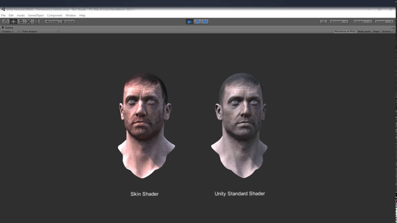 Subsurface Scattering Skin shader preview