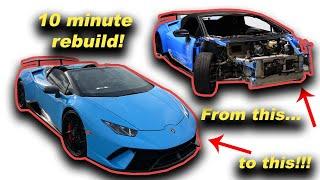 Rebuilding a WRECKED Lamborghini Huracan Performante Spyder in 10 minutes!!!