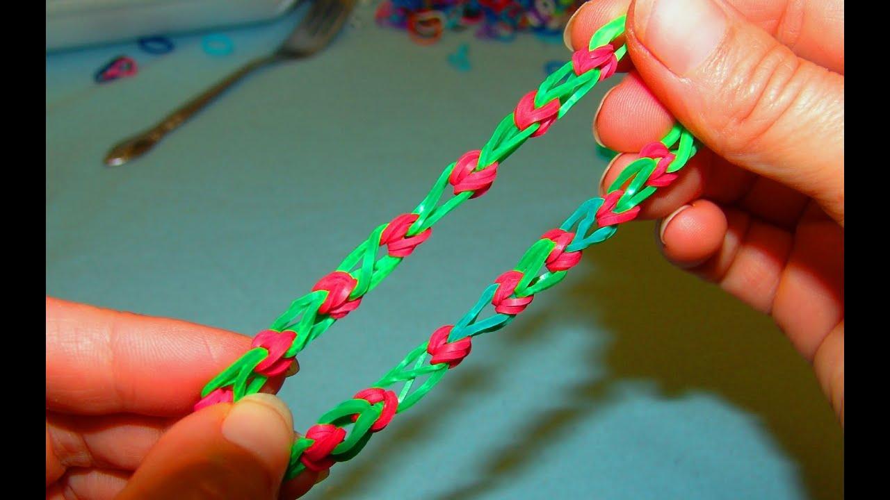 Плетём обычный браслет из резинок
