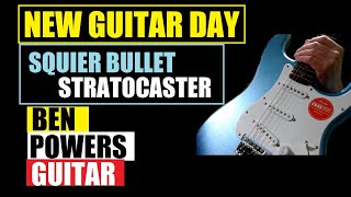 NEW GUITAR DAY!! Unboxing & Review!! Limited Edition Lake Placid Blue Squier Bullet Strat!!