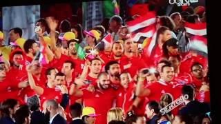 ظهور علم السعوديه مع البعثه المصريه  في الاولمبياد