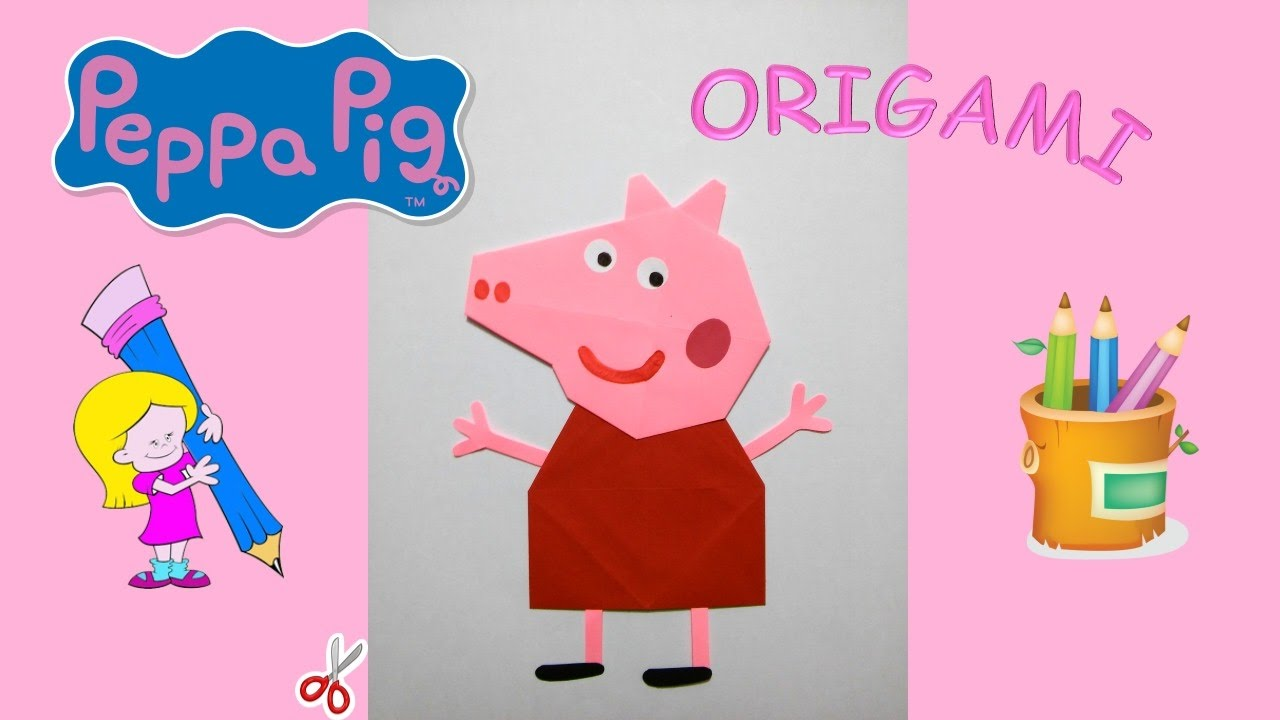 PEPPA PIG - Origami PEPPA PIG TUTORIAL DIY Origami how to ... - photo#28