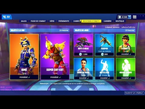 BOUTIQUE FORTNITE du 10 Janvier 2019 ! ITEM SHOP January 10 2019 !