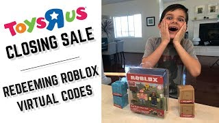 Getting Roblox Mystery Boxes at the Toys'R'Us closing sale plus redeeming Roblox virtual item codes