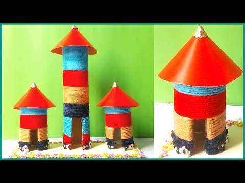 Toilet Tissue Paper Roll Craft Ideas | Homemade House Using Kitchen tissue paper roll