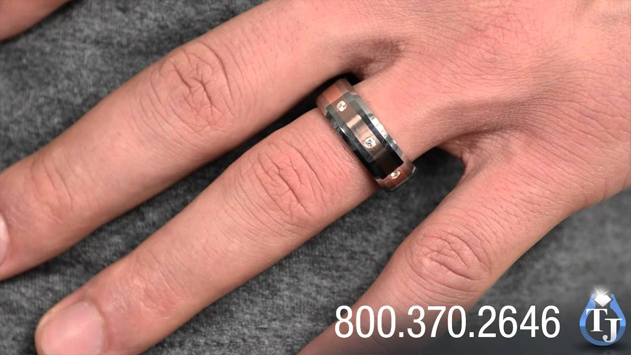It is just an image of Mens Tungsten Wedding Band with Rose Gold and Diamonds by Heavy Stone Rings, TAHAGI 39mm