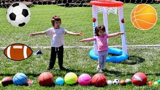 Learn Sport Ball Names for Toddlers and Babies, Fun Kids Playing and Learning Different Soccer Balls