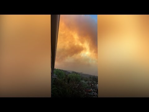 Smoke From Thomas Fire Blazes Over The City Of Ojai