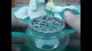 Rawcliffe Pewter Pug Dog Sitting On Ornate Lid Of Glass Bowl Trinket Container