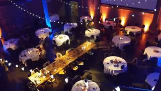 Clyde wedding in fall theme lighting by Duluth Event Lighting