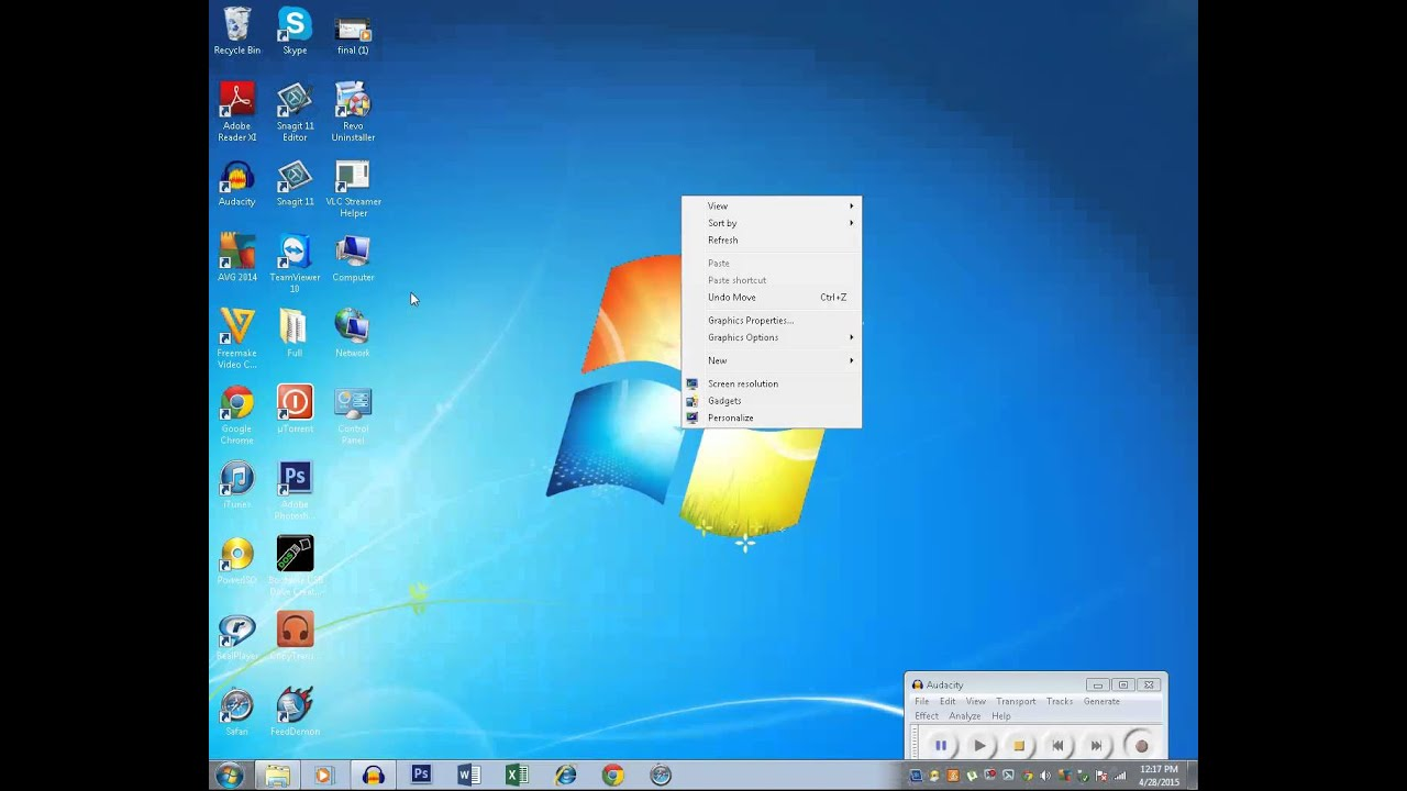 Bring back missing icons in Windows 7 desktop