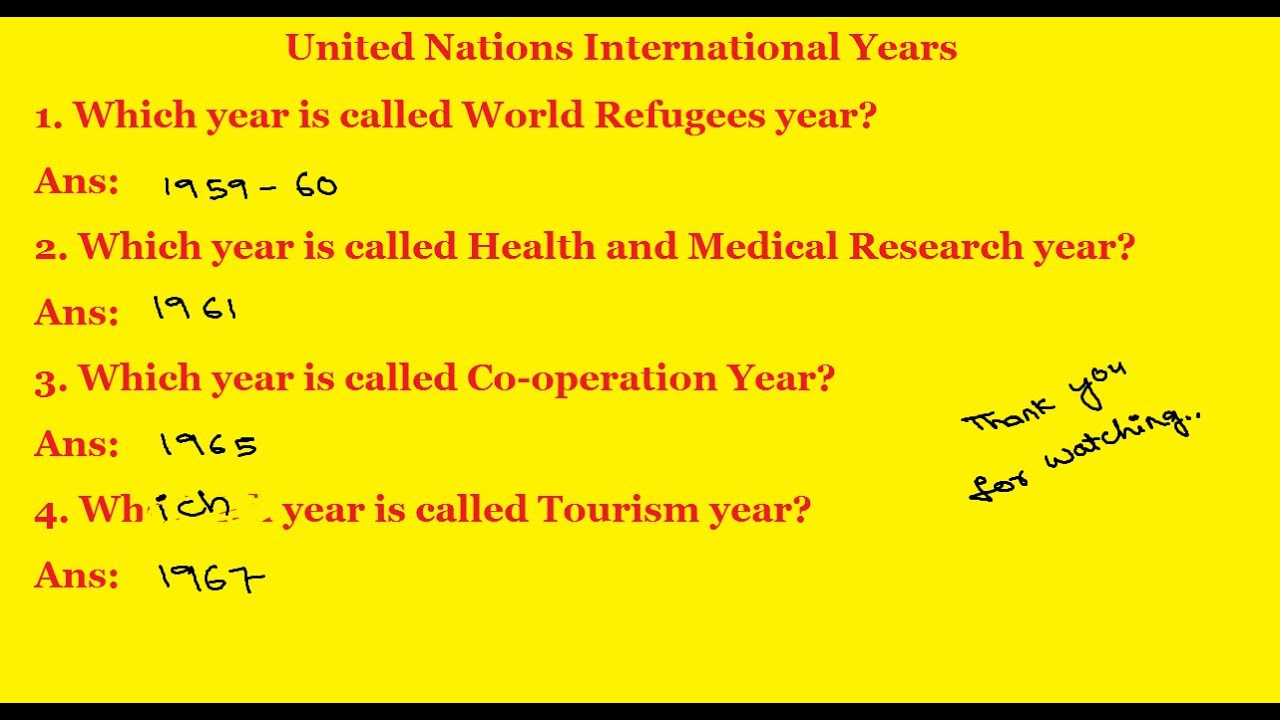 General Knowledge Questions And Answers | United Nations ...