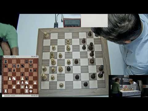Levon Aronian vs  Magnus Carlsen  Trapping the knight Altibox Norway Chess 2019 Armagedón
