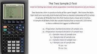 Two Sample Z-Test - TI Calculator Tutorial
