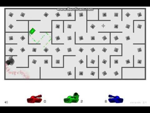 играем в танки в лабиринте на троих