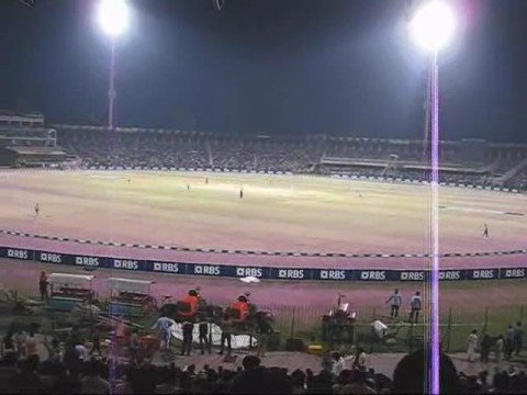 Stadium View - Final 20-20 Cricket Tournament Gaddafi Stadium at Night 8 Oct 2008 Lahore Pakistan