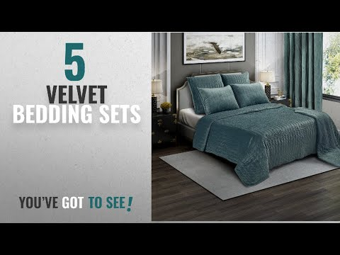 Top 10 Velvet Bedding Sets [2018]: Brielle Premium Heavy Velvet Quilt Set with Cotton Backing, King,